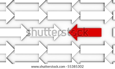 A red arrow going against the flow. - stock photo