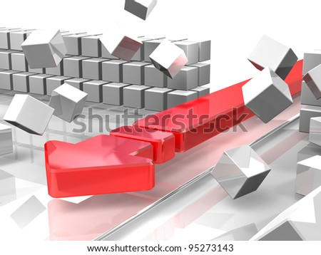 """A red arrow is attacking  barriers. It represent the """"break through"""". This is a computer generated image. - stock photo"""