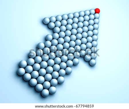 A red ball in many white balls - stock photo