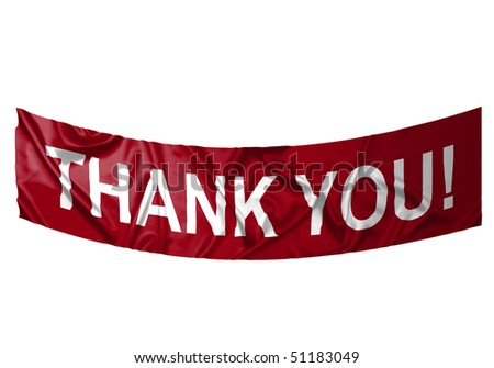 A red banner with white text saying Thank you - stock photo