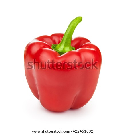 A red bell pepper isolated on white background - stock photo