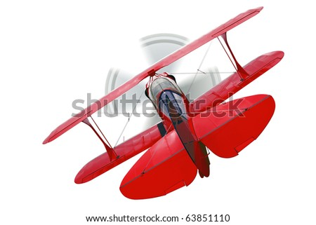 A red biplane, rear view with propeller in motion, isolated on a white background. - stock photo