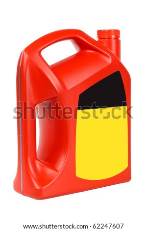 a red bottle of engine oil with blank label isolated on white - stock photo