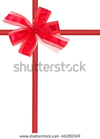 A red bow isolated against a white background