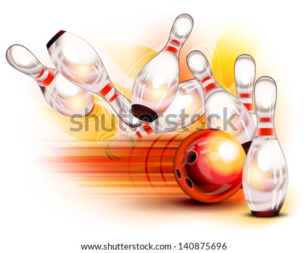 A red bowling ball crashing into the pins - stock photo