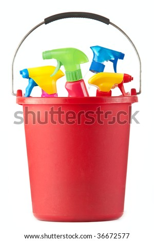 A red bucket filled with assorted cleaning supplies on white.