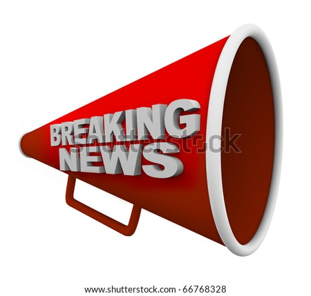A red bullhorn with the words Breaking News on it - stock photo