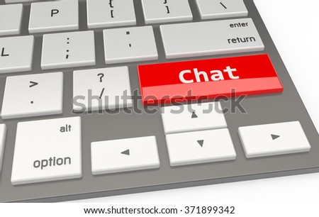 A Red button Chat on keyboard 3d rendering - stock photo