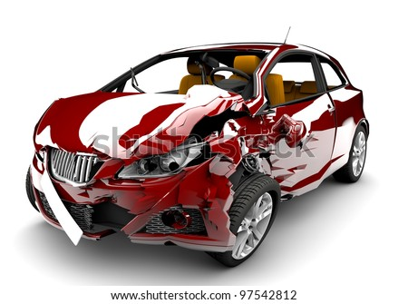 A red car in an accident isolated on a white background - stock photo