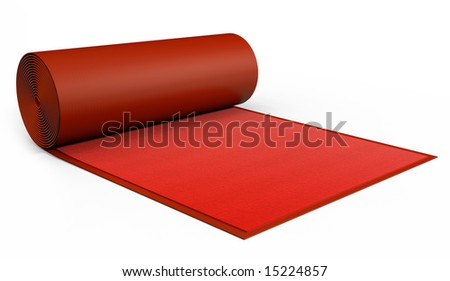 A red Carpet being rolled out on white. Includes Clipping Path!! - stock photo
