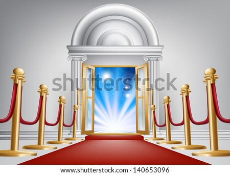 A red carpet entrance with velvet rope and imposing marble doorway leading into an exciting venue - stock photo