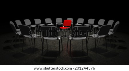 A red chair in the center of many grey chairs metaphor for center of attention and limelight