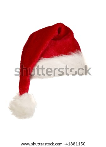 A red christmas cap with white edges and bobble
