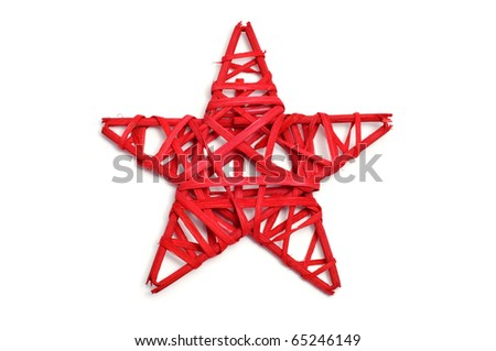 a red christmas star on a white background - stock photo