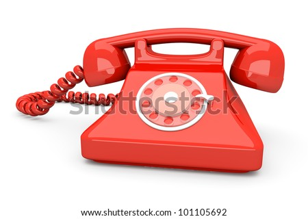 A red, classic Telephone. 3D rendered Illustration. Isolated on white. - stock photo