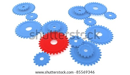A red cog standing out of a set of blue cogs - stock photo