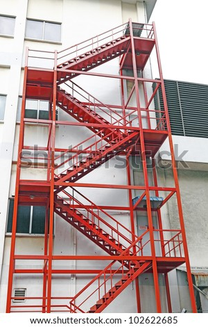 Red Color Fire Escape Ladder On Stock Photo Royalty Free