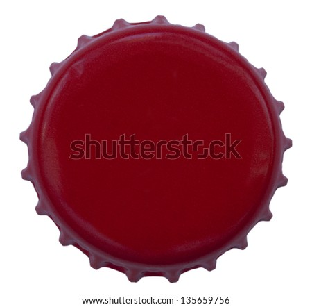 A red colored metal cap, used for glass soda bottles. Isolated on white background.