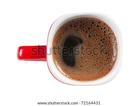 A red cup of coffee isolated over white background. Top view - stock photo