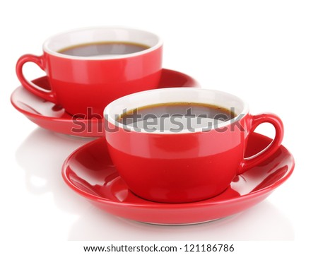 A red cups of strong coffee isolated on white - stock photo