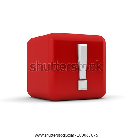 A red 3D block with a white exclamation mark - stock photo
