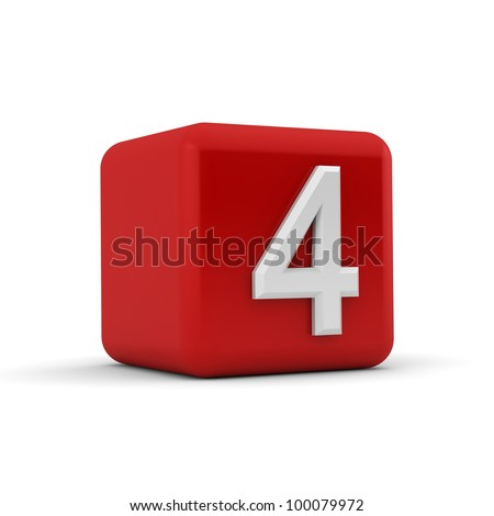 A red 3D block with white number four - stock photo