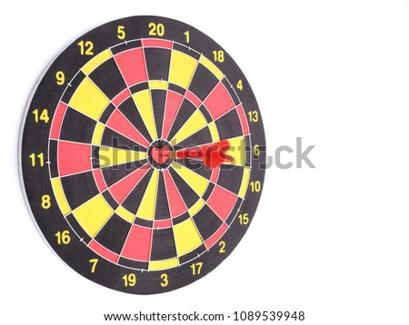 Red dart arrow hitting on center stock photo royalty free a red dart arrow hitting on center at bullseye of dartboard which is heart shaped isolated altavistaventures Image collections