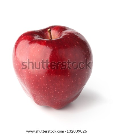A red Delicious Apple on white background with shadows - stock photo