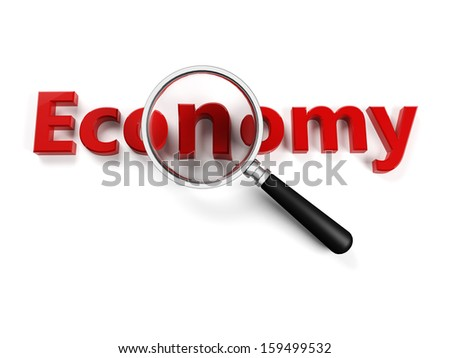 A red economy write with lens and white background