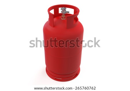 A red gas cylinder isolated on white background - stock photo