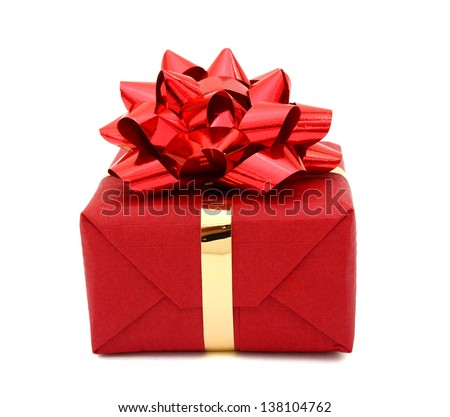 A red gift box on wrapping shop - stock photo