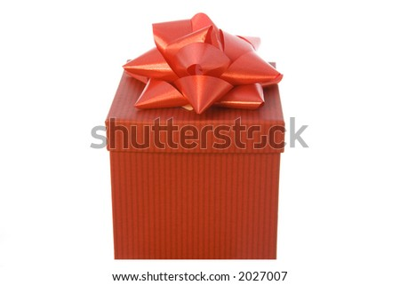 a red gift with a big red  bow