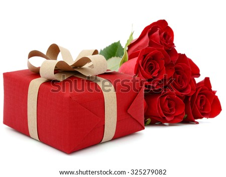 A red gift with half rose bunch, valentine day - stock photo