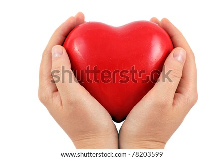 A Red heart in a hands, isolated on white - stock photo