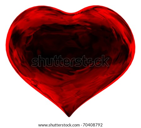 A red heart shaped fractals. Abstract Love. - stock photo