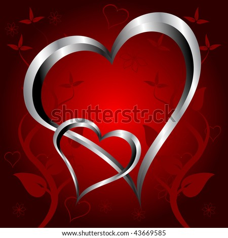A red hearts Valentines Day Background with silver hearts on a red floral background background - stock photo