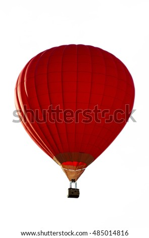 A red hot-air balloon isolated on the white