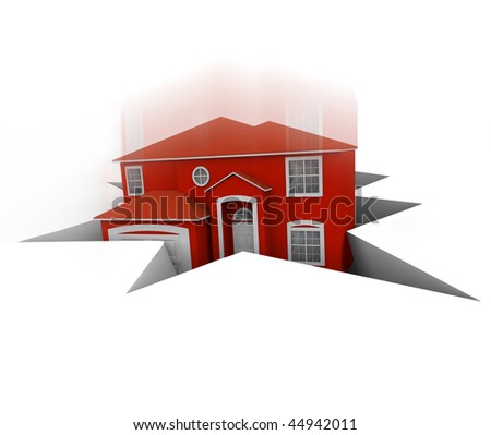 A red house falls into a hole, symbolizing foreclosure or bankruptcy - stock photo