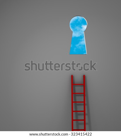 A red ladder leans against a gray wall but is too short to reach the keyhole-shaped doorway that opens to bright, blue skies.