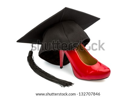 a red ladies shoes on a mortarboard, symbol photo for gender equality and women power - stock photo