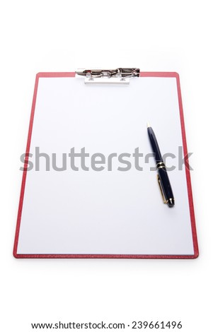 A red leather clipboard with a4 paper and fountain pen isolated white at the studio. - stock photo
