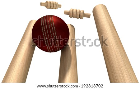 A red leather cricket ball hitting wooden cricket wickets on an isolated white background - stock photo