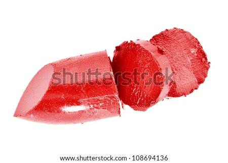 A red lipstick broken isolated - stock photo