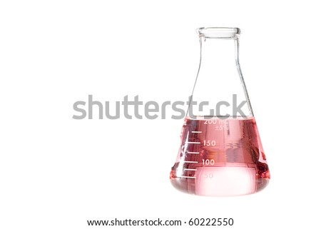 A red liquid in an erlenmeyer flask isolated on a white background. - stock photo