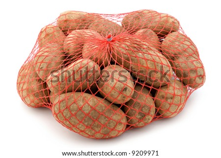 A red mesh bag of russet potatoes.