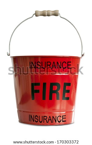 A red metal Fire Bucket depicting Fire Insurance concept isolated against a white background - stock photo