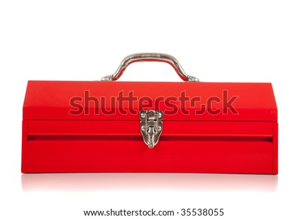 A red metal toolbox on white background - stock photo