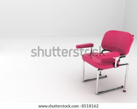 "A red modern chair alone in a white room. Room for text in the left side. Uses: ""We have a chair reserved for you"", ""Sit down and relax"", etc."
