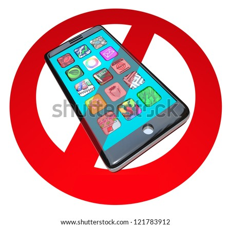 A red No or Stop sign over a smart phone showing apps to warn you not to use your telephone in a certain spot or during a special event - stock photo