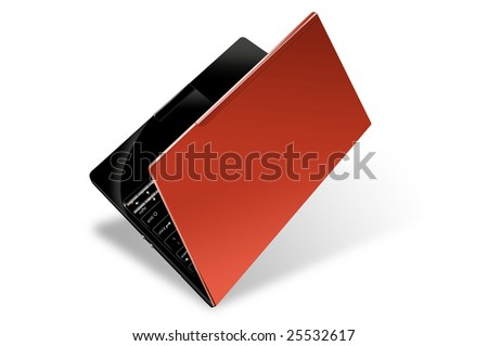 A red notebook isolated on white background